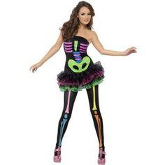 Costume femme sexy néon squelette