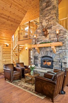 The Best 50 Log Cabin Interior Design Ideas they are carefully selected and cut in the build order in which they will be laid down to form the home. Cabin Fireplace, Fireplace Design, Cabin Interior Design, House Design, Log Home Living, Living Rooms, Log Home Interiors, Log Home Decorating, Log Cabin Homes