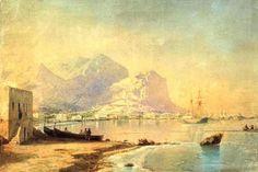 在 海港, 水彩 通过 Ivan Aivazovsky (1817-1900, Ukraine) акварель Ивана Айвазовского