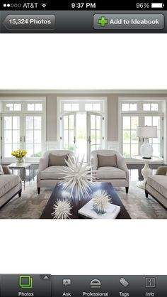 LOVE all the windows and light. Wall color-Benjamin Moore Shale