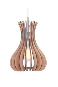 Woodbridge Lighting Canopy 1-light Wood Shade Satin Nickel Mid Pendant