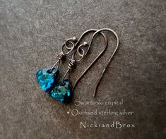 Swarovski Crystal Earrings - Oxidised sterling silver earrings   Dangle  earrings   Blue crystal earrings   5bd287f615a7