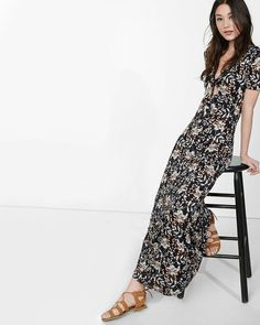 Express Black Floral Print Tie Front Maxi Dress $35.94 (was $59.90)