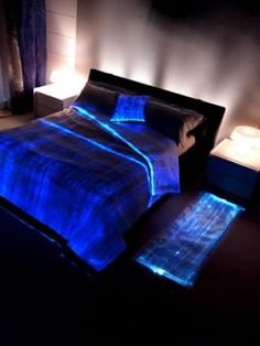 Fibre optic bedding - - LumiGram SARL - The Fiber Optics Fabric is made of ultra-thin optical fibers, directly woven with synthetic fibers. The optical fibers are specially processed in order to allow the light to be emitted along the full length of the fibers (side emitting fibers). The optical fibers are then connected to ultra-bright LEDs (embedded in borders at the edge of the fabric), which inject light into the fabric.