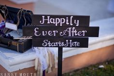 Happily Ever After Starts Here Wooden Sign Wedding Moon Palace Cancun, Mexico Wedding - Award Winning International Wedding Photographer Sassy Mouth