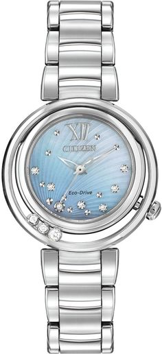 c95162905 Citizen EM0320-59D Sunrise Diamond Mother of Pearl Dial Eco-Drive Watch  Ladies Silver
