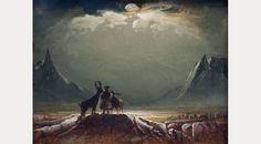"Peder Balke, ""Paysage du Finnmark avec Lapon et Rennes"", 1850 Arctic Tundra, Witch Art, Midnight Sun, Oh Deer, London Art, Winter Night, Paintings I Love, Wall Art Prints, Scandinavian"