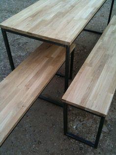 Table et bancs en bois et acier by madinpariss