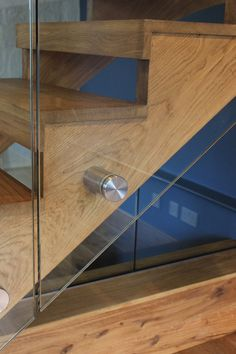 Oak staircase with frameless glass balustrade with stainless steel bolted… Glass Stair Balustrade, Oak Handrail, Frameless Glass Balustrade, Glass Railing, Interior Staircase, Staircase Railings, Staircase Design, Staircases, Staircase Ideas