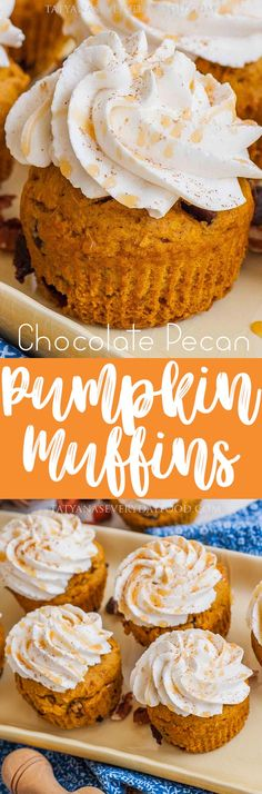 Chocolate Pumpkin Muffins The BEST chocolate pecan pumpkin muffins/cupcakes! Serve with the spice whipped cream or enjoy without! Best Pumpkin Muffins, Pumpkin Chocolate Chip Muffins, Baked Pumpkin, Pumpkin Recipes, Fall Recipes, Holiday Recipes, Baking Recipes, Dessert Recipes, Tatyana's Everyday Food