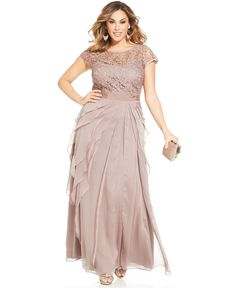 Plus size cap-sleeve lace tiered gown mob dresses, plus size dresses, bri. Plus Size Evening Gown, Plus Size Gowns, Plus Size Maxi Dresses, Evening Dresses, Mother Of Groom Dresses, Mothers Dresses, Mob Dresses, Dresses With Sleeves, Cap Sleeves