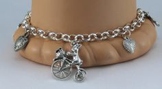 Silver Charm Bracelet with Heart Charms Palm tree by BlingbyDonna, $34.00