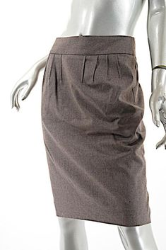2fb8ab42df2 YVES SAINT LAURENT VINTAGE Bark Wool Flannel Skirt Knife Pleat Below Waist  SZ 6 #YvesSaintLaurent
