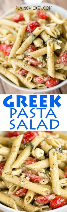 Greek Pasta Salad - seriously THE BEST! I could make a meal out of this pasta salad!!! Penne pasta, olive oil, lemon juice, mayonnaise, Greek seasoning, grape tomatoes, feta and basil. Makes a ton. Gr