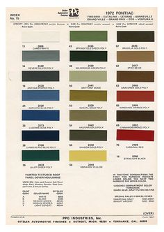 Mustang Boss 1964 Car Colors Paint Color Codes