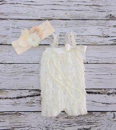 Baby girl 1st birthday outfit. Aqua lace romper. by KadeesKloset