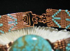 Copper Woven Turquoise Howlite Bracelet with by RoSanCustomJewelry