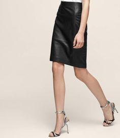 OLIVIA Leather pencil skirt