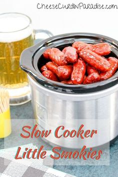 The best game day and tailgating snacks allow you to enjoy the game and company with minimal fuss. These Slow Cooker Little Smokies combine smoked sausage, grape jelly, and chili sauce to make an unforgettable appetizer! #lilsmokies #sausage #superbowl Yummy Appetizers, Appetizer Recipes, Snack Recipes, Snacks, Vegetarian Crockpot Recipes, Slow Cooker Recipes, Crockpot Little Smokies, Appetizer Sandwiches, Grape Jelly