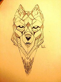 Geometric wolf sketch - Alex horkan