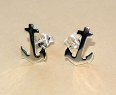 Tiny Marine Anchor Cross Sterling Silver Stud Earrings, Anchor Ear Studs