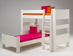 L Shaped Bunk Beds for the Twin�s Room: Simple White L Shaped Bunk Beds With Pink Yellow Pillow ~ dickoatts.com Bedroom Designs Inspiration
