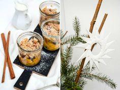 Apfel Mandel Crumble im Glas mit Amarettinistreuseln, einer extra Portion Zimt & Vanillequark + Zackensterne