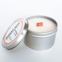 Pumpkin Spice Soy Candle with Wooden Wick Cute Candles, Tin Candles, Soy Wax Candles, Soy Candle, Candle Maker, Candle Shop, Fall Scents, Orange Zest, Burning Candle