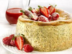 Lemon Poppy Seed Cheesecake with Berry Puree. Light and fresh dessert for #Easter. http://www.ivillage.com/easter-dessert-recipes/3-b-424583#434190
