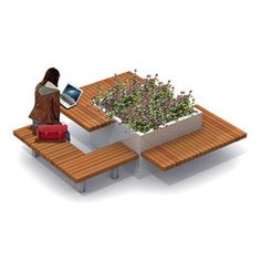 Planters-Benches with tables-Urban planters-Solid Meet & Work-Streetlife Urban Furniture, Street Furniture, Furniture Design, Plans Architecture, Landscape Architecture Design, Design D'espace Public, Urban Planters, Tree Planters, Public Seating