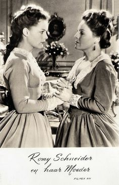 Romy Schneider and Magda Schneider in Sissi - Die junge Kaiserin (1956). Dutch postcard by Takken, no. 3092. Photo: Filmex NV. Publicity still for <i>Sissi - Die junge Kaiserin/Sissi: The Young Empress</i> (Ernst Marischka, 1956).