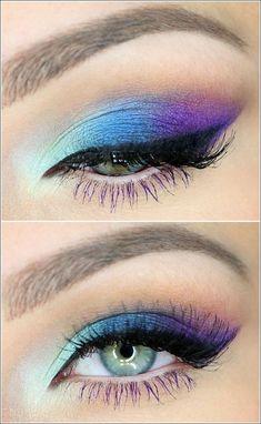 grüne augen betonen, bunte lidschatten, make-up in lila und blau