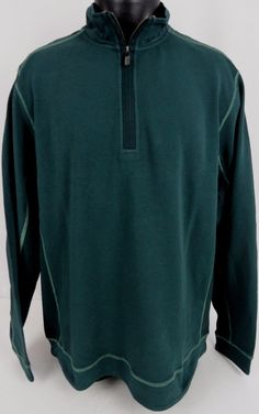 NWT Tommy Bahama Half Zip Ben & Terry Sweater LS Green L Men's Stretch Cotton  #TommyBahama #12Zip