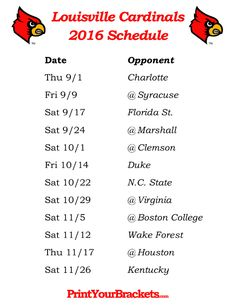 Printable Louisville Cardinals Football Schedule 2016