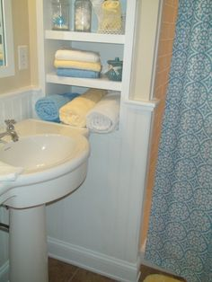 built in shelves in bathroom - Google Search