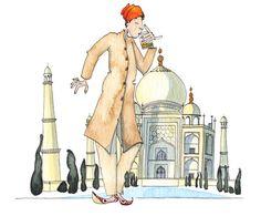 Drinks at the Taj Mahal Dip Pen, Taj Mahal, Tourism, Princess Zelda, Graphic Design, Watercolor, Traditional, Drinks, Illustration