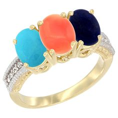 14K Yellow Gold Diamond Natural Turquoise, Coral and Lapis Ring 3-Stone 7x5 mm Oval, sizes 5 - 10 -- Check this awesome image  : Jewelry Ring Bands