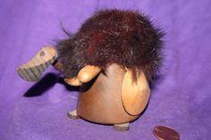 Vintage Danish Wood Viking Real Fur Miniature Figurine Denmark Mid Century TROLL