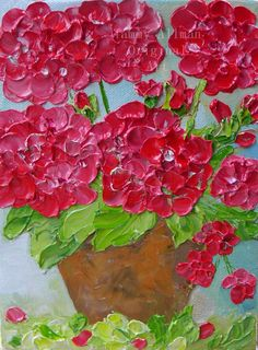 Red Geraniums in a clay pot oil impasto painting.