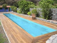 Inground one-piece swimming pool in fiberglass (lap pool) - Multiforma . Would need to build a sunscreen over it. Backyard Pool Designs, Small Backyard Pools, Small Pools, Pool Landscaping, Luxury Swimming Pools, Luxury Pools, Outdoor Swimming Pool, Lap Swimming, Pool Spa