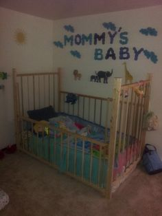 """You giggle having turned my home office into a nursery while I was away on business """"surprise when you're at home you're now my baby boy. Baby Boy Rooms, Baby Bedroom, Baby Cribs, Black Nursery Furniture, Baby Furniture, Hunting Theme Nursery, Diy Crib, Tween Girl Gifts, Nursery Crib"""