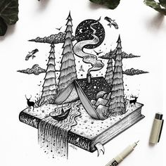 and surrealism with ink Illustrations - . Fantasy and surrealism with ink Illustrations - . Fantasy and surrealism with ink Illustrations - . Art And Illustration, Ink Illustrations, Black And White Illustration, Stylo Art, Artist Sketchbook, Desenho Tattoo, Ink Drawings, Fantasy Drawings, Pen Art