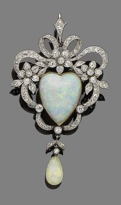 Opal and Diamond Brooch/Pendant, c. 1890