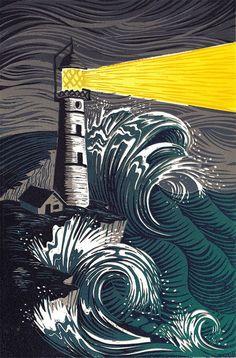 Illustration for a poem 'The Light Keeper' by Robert Louis Stevenson. Gravure Illustration, Sea Illustration, Linocut Prints, Art Prints, Woodcut Art, Block Prints, Lighthouse Art, Inspiration Art, Linoprint