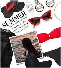 J Outfit | ShopLook Beach Day Outfits, Bright Lipstick, Outfit Maker, Brazilian Bikini, Bandeau Bikini, Cat Eye Sunglasses, Bikini Bottoms, Bikinis, Clothes