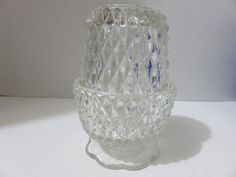 Vintage 2 Pc Diamond Point Fairy Lamp Clear Glass. Starting at $6