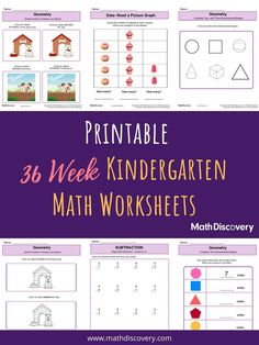 MathDiscovery.com offers free, printable worksheets for teachers and parents and has created a 36 week collection of kindergarten math worksheets designed to reinforce basic math concepts like basic addition, subtraction, recognizing shapes, counting, writing numbers comparing and sorting. Each week contains around 10 printable worksheets that are easy to print and use! Kindergarten Math Activities, Numbers Kindergarten, Preschool Lessons, Preschool Math, Preschool Binder, Math For Kids, Fun Math, Writing Lessons, Math Lessons