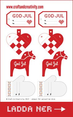 Juletiketter - från Craft & Creativity -  Swedish design gift tags (English version also)