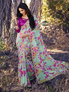 LightGreen Georgette Lace Border Saree With Unstitched Blouse Piece - Printed Sarees - Shop By Type - Sarees