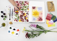 'My workspace' photoshoot by Zahra Damayanti RMIT BA Textile Design #designworkspace #workspace #textiledesign #drawing #painting #flower #painting #design #art #colour #designer